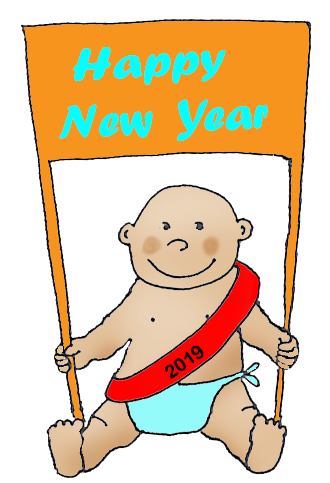 new year 2019 clipart baby