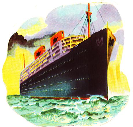 vintage ocean liner clipart