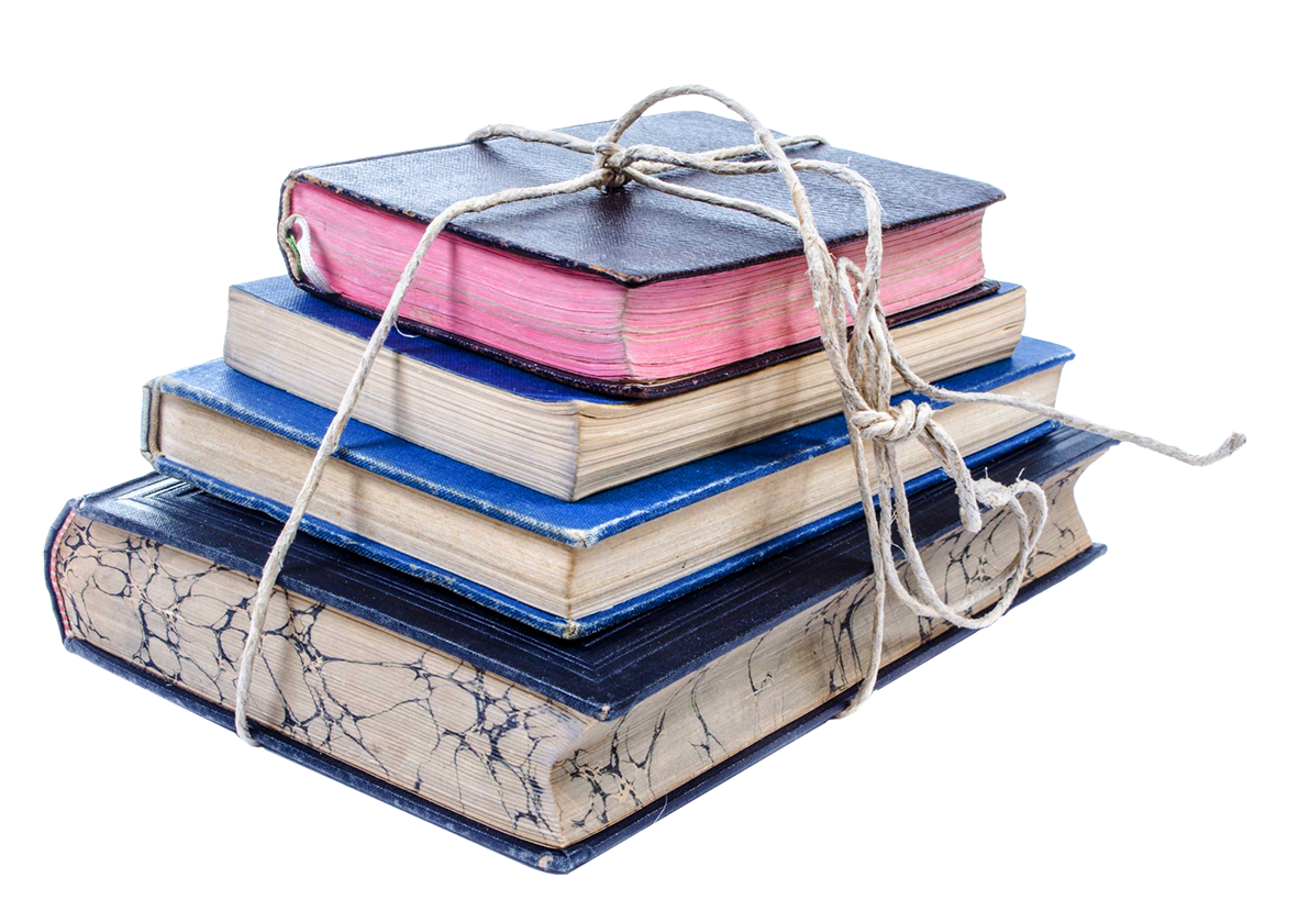 Old books tied with string clipart