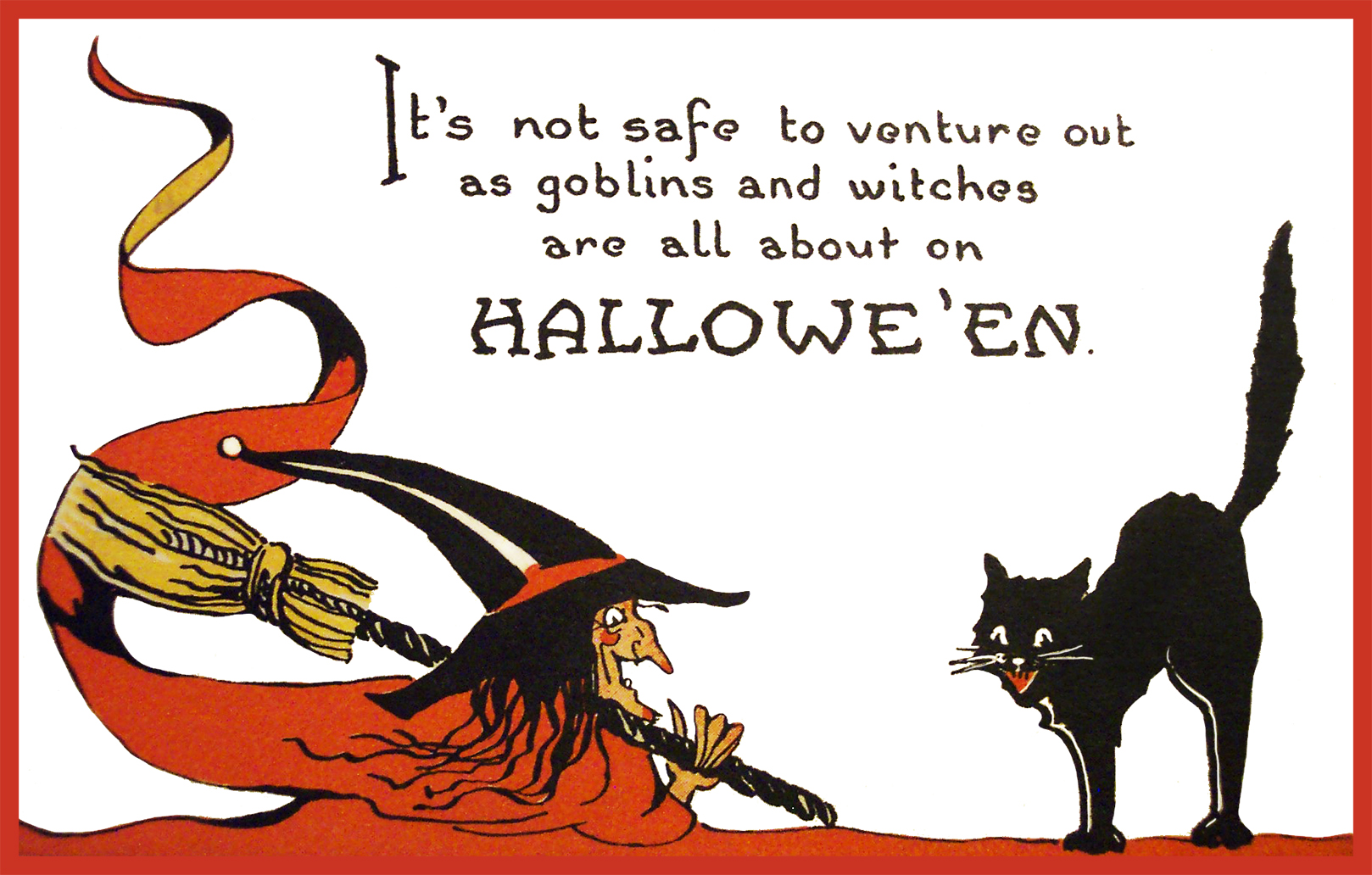 old Halloween card with witch and cat