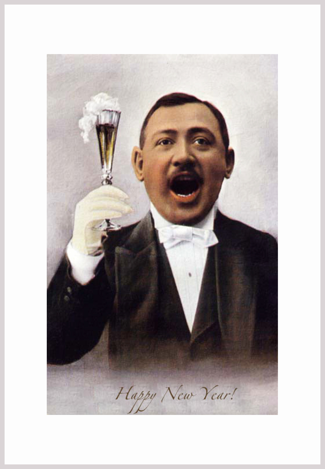Old funny Happy New Year card