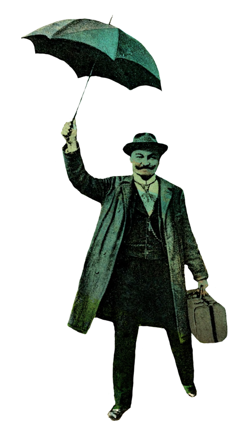 old photo man with umbrella PNG