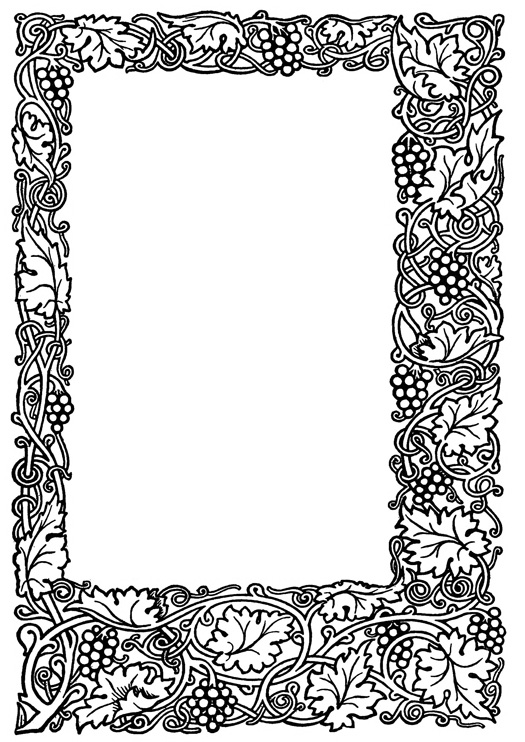 Old picture frame with wine leaves and fruit