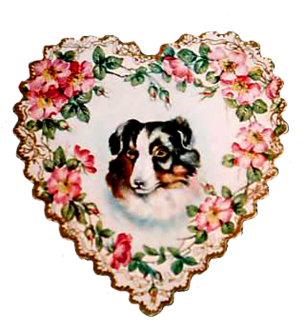 Old Valentine heart with dog and flowers