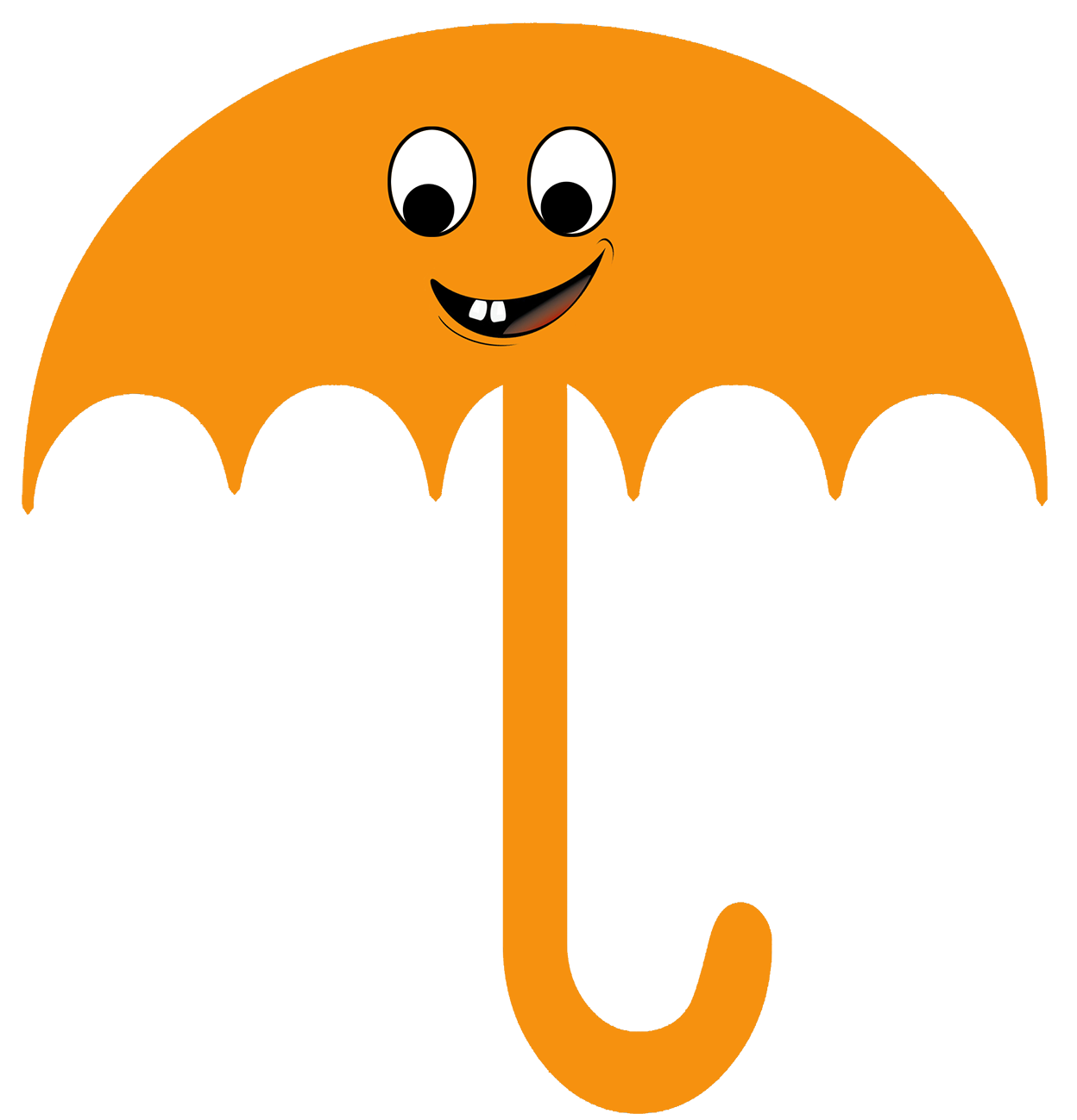 orange cute umbrella clipart