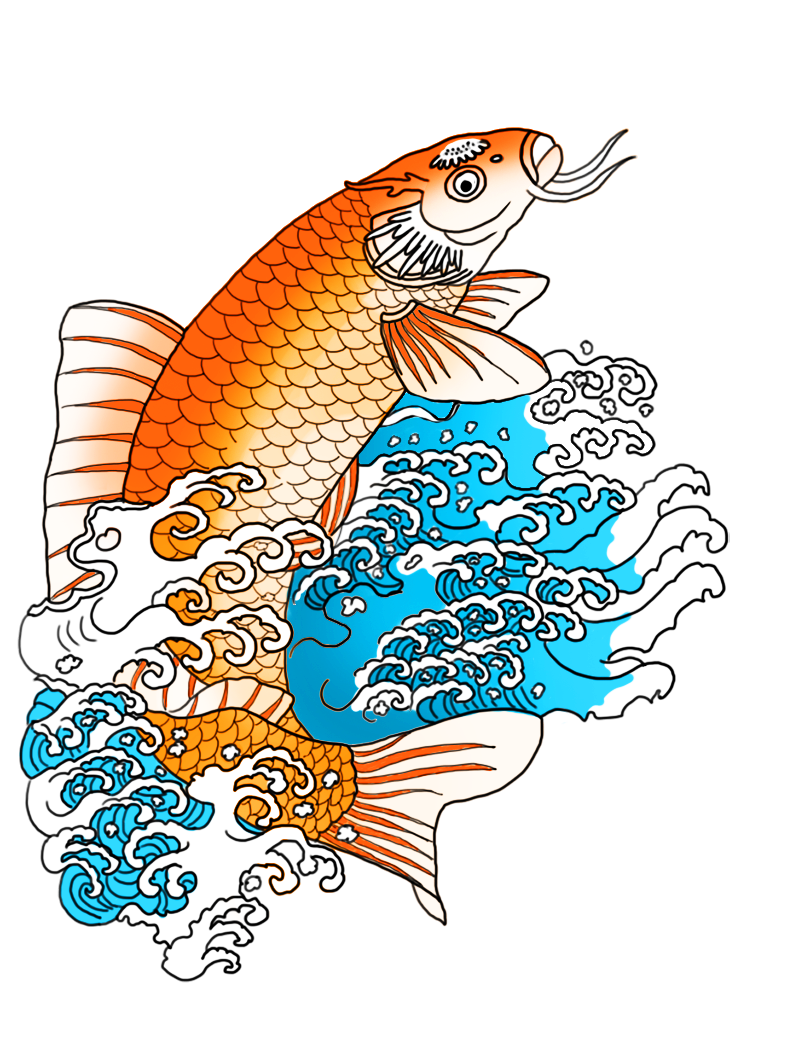 orange koi fish in waves