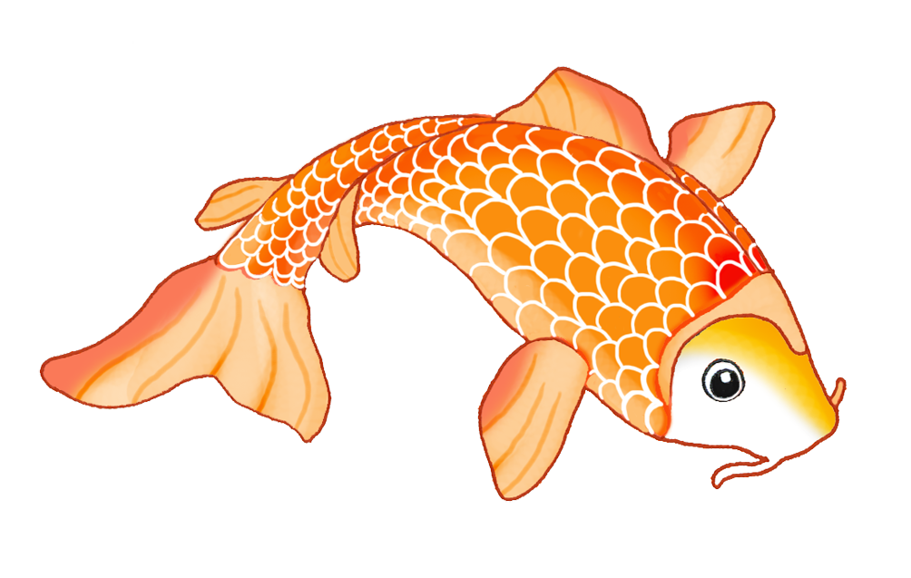sketch of orange koi fish