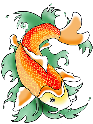 orange koi fish in green waves