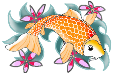 orange koi fish with waves and flowers