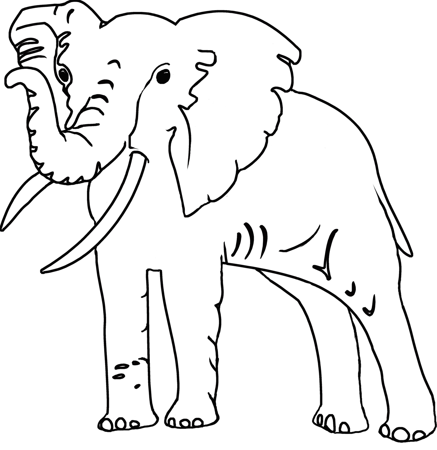 outline of big male African elephant