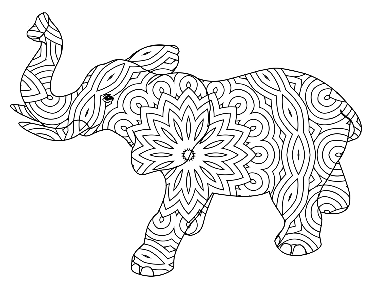 outline elephant with pattern