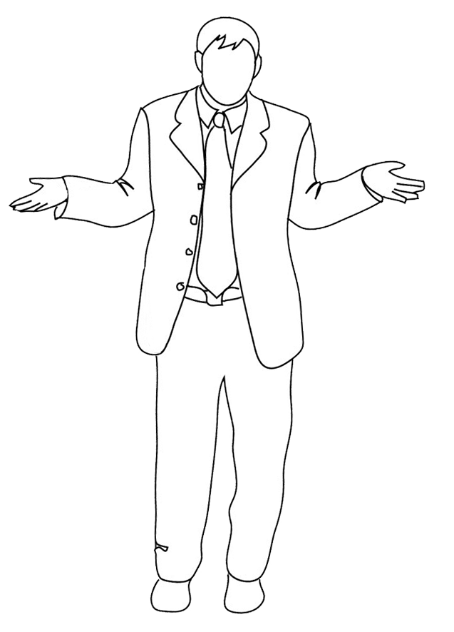 outlined business man shrugs