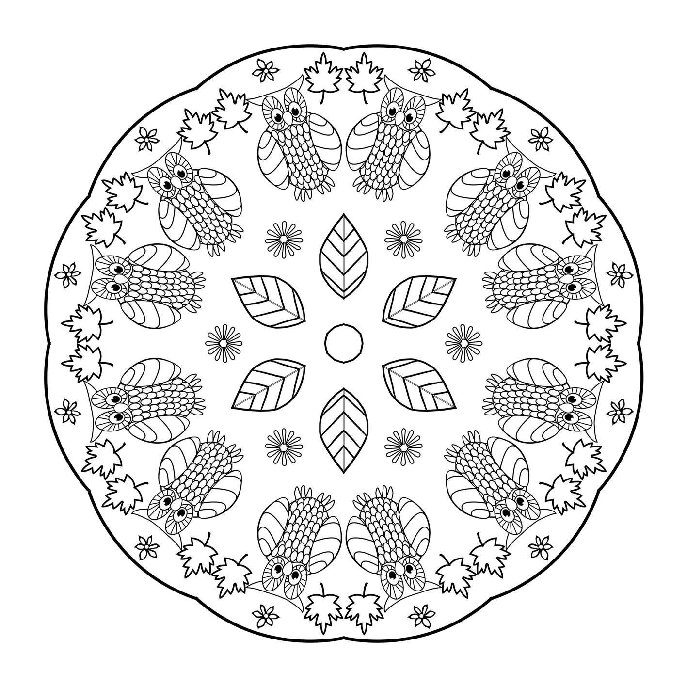 owl mandala coloring page