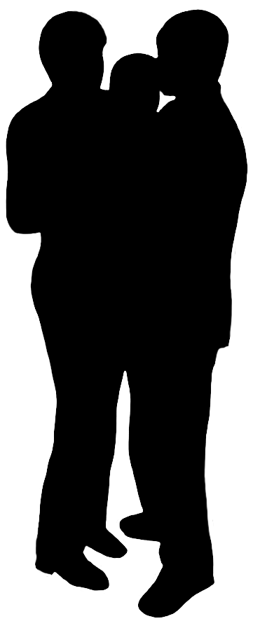 black silhouette of parents and child