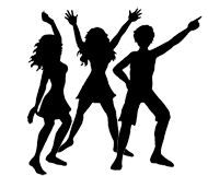 party clip art silhouettes dancers