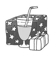 party clipart drink presents black white