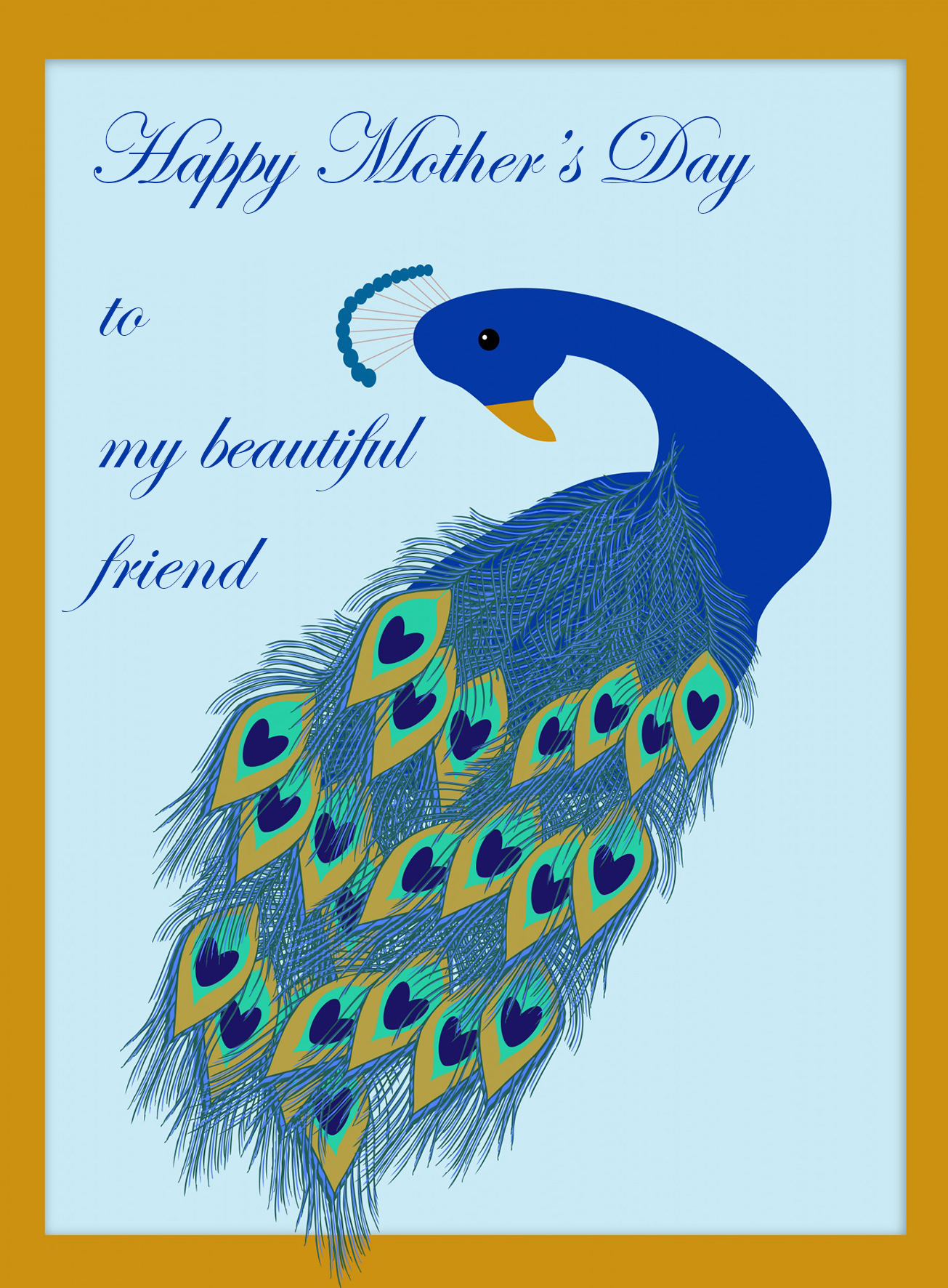 Mother's day card for friend with peacock