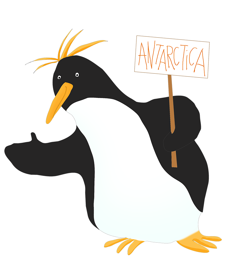 penguin clipart hitchhiking