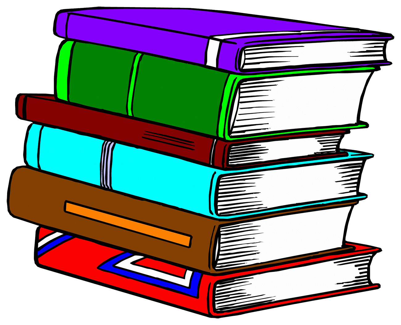 pile of colored books