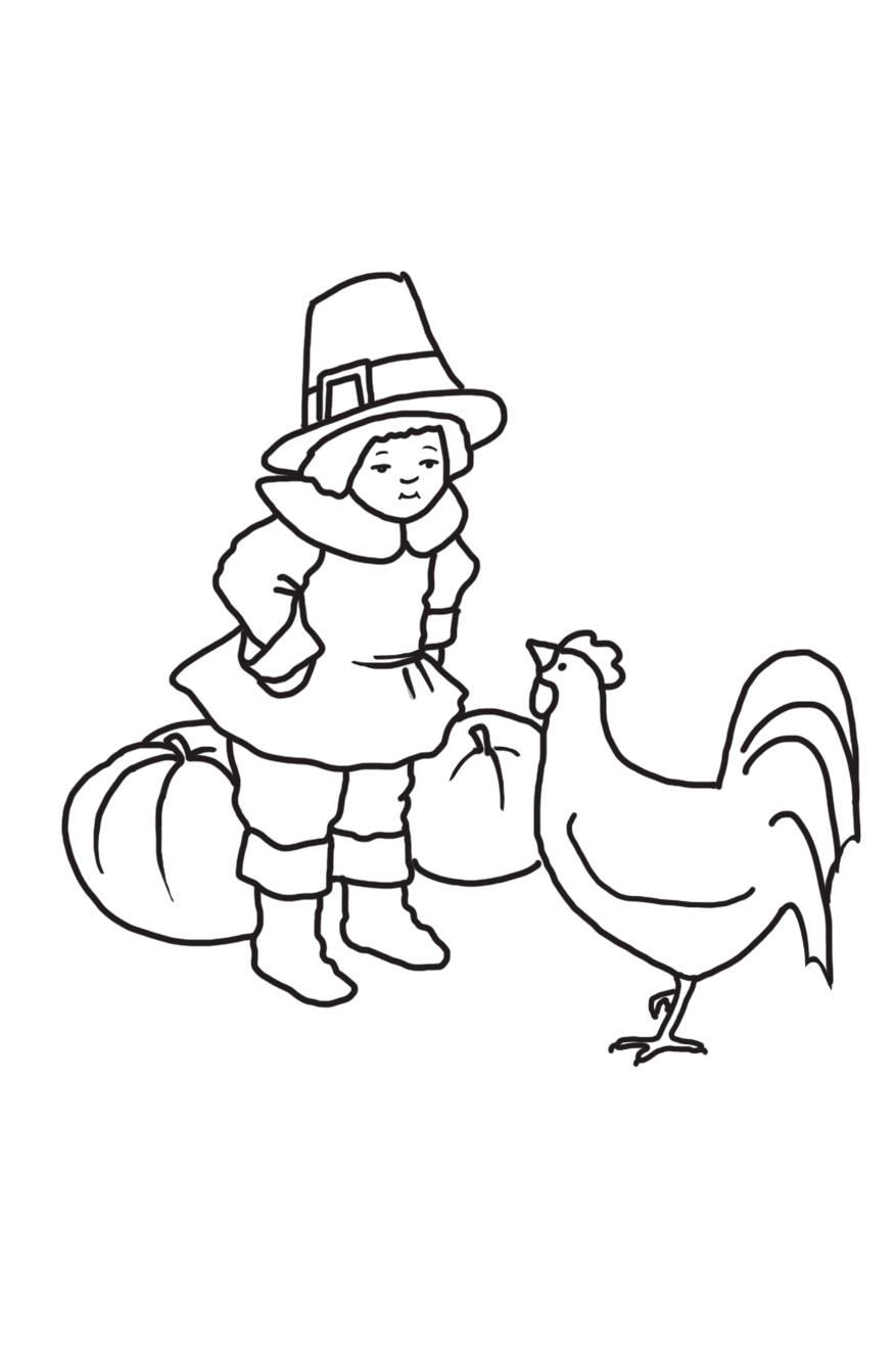 pilgrim boy with hen and pumpkins