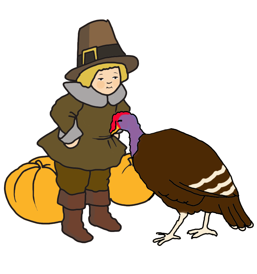 Pilgrim boy with turkey and pumpkins