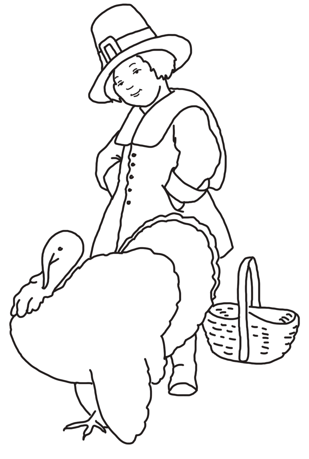 pilgrim boy with turkey and basket