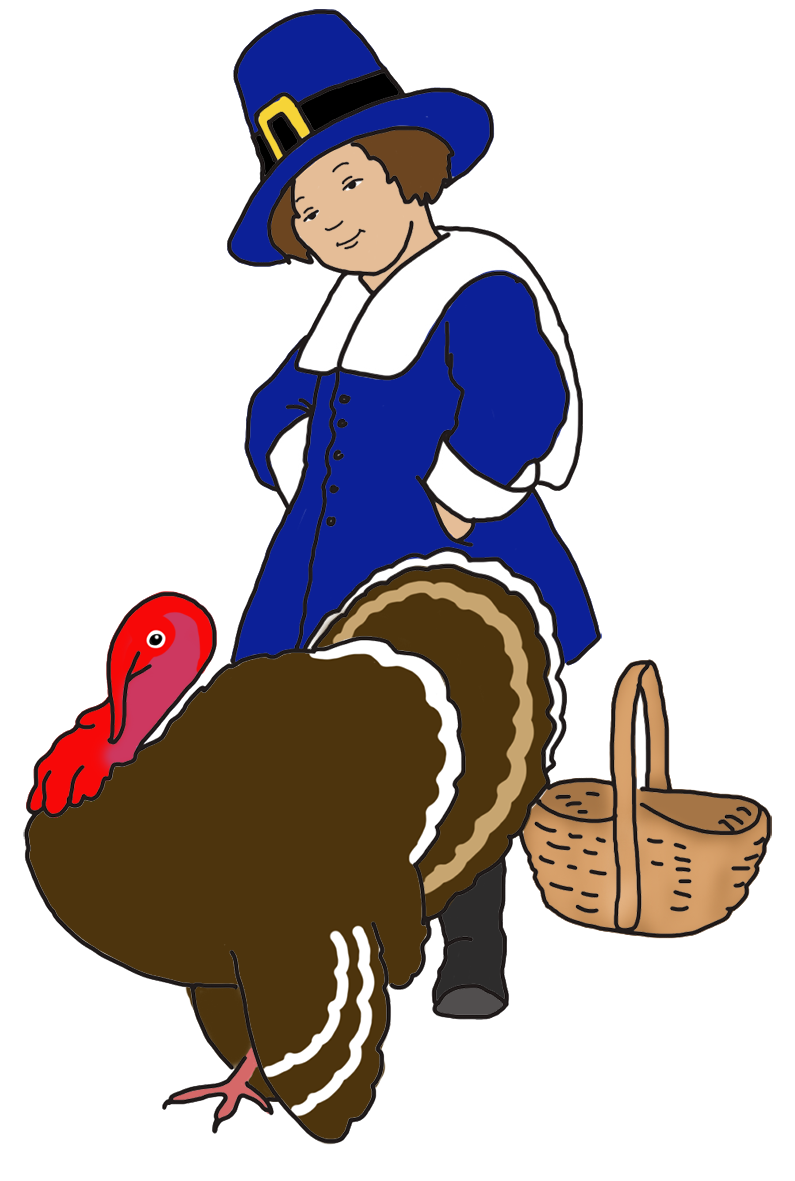 pilgrim boy with basket and turkey