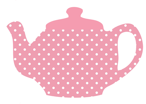 pink teapot with white dots