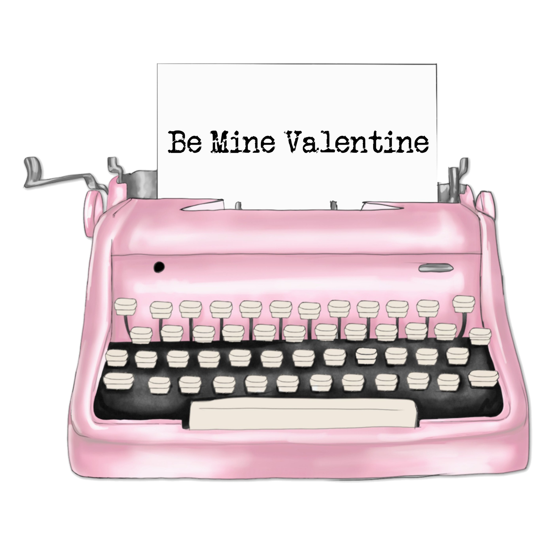 Valentine clipart pink typewriter and letter