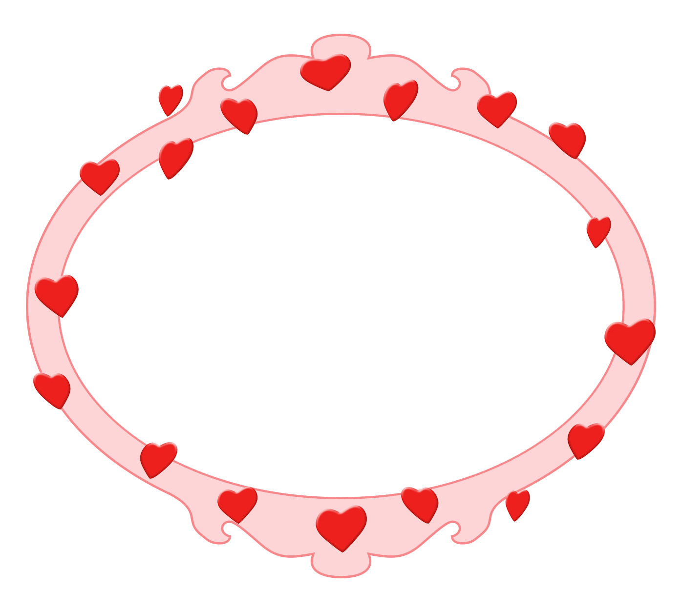 pink Valentine's Day frame with hearts