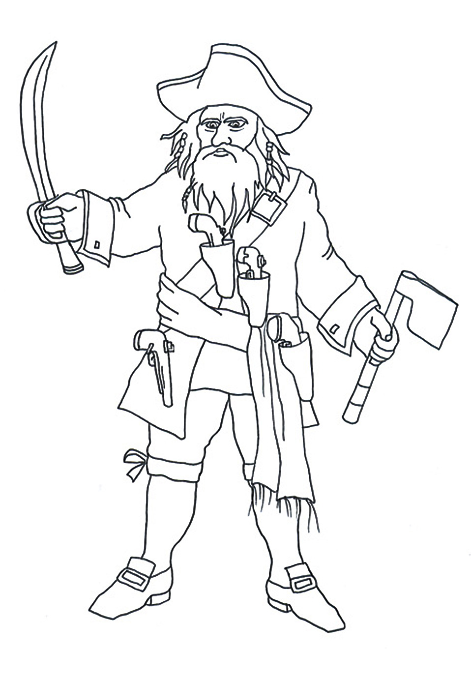 pirate coloring pages black beard