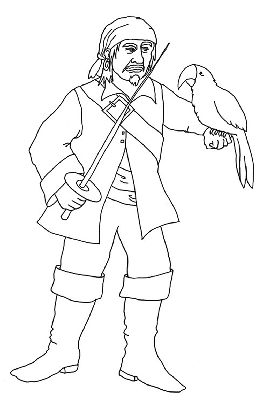 pirate coloring pages pirate with parrot