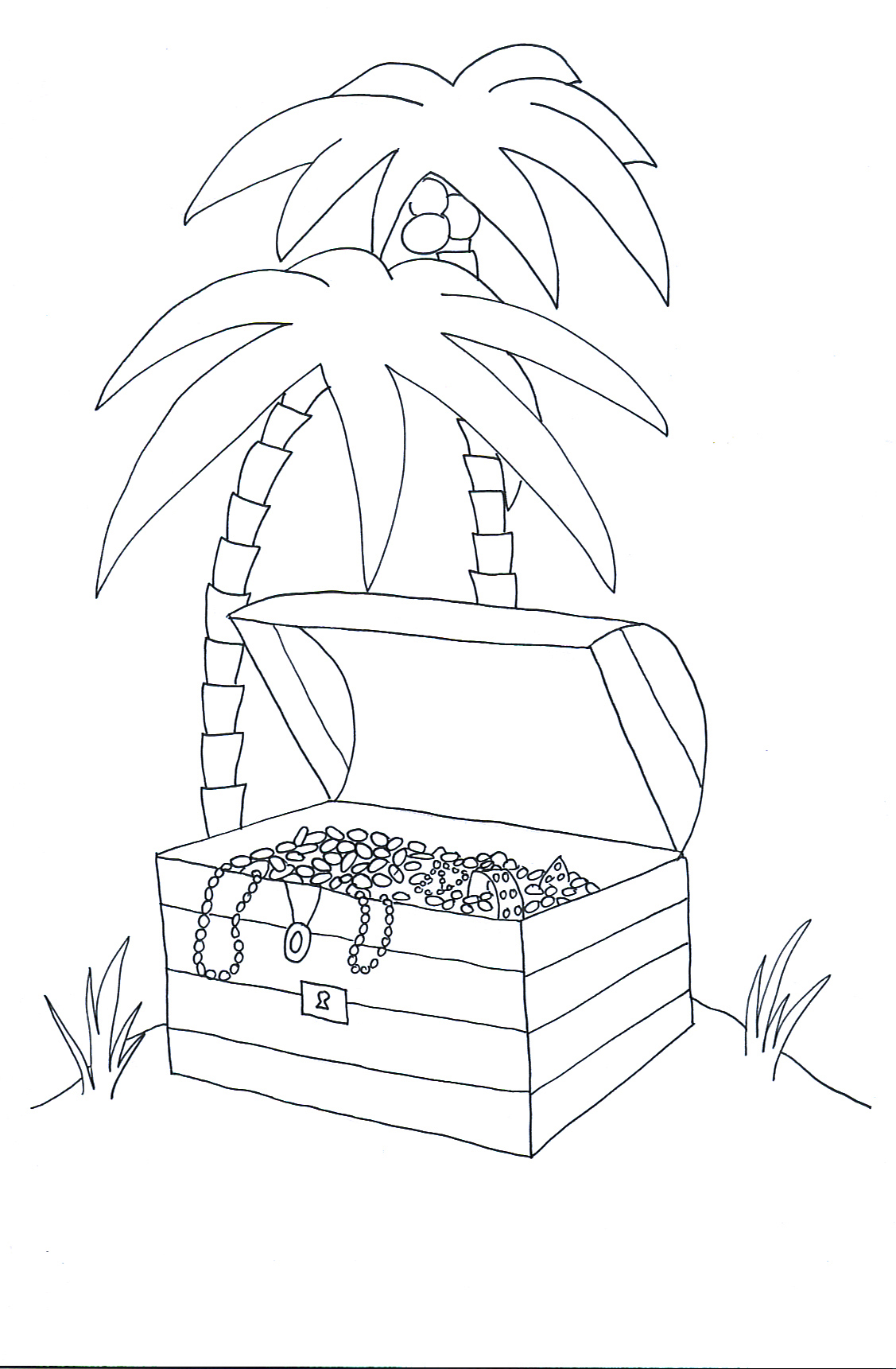 pirate treasure chest on island with palm trees
