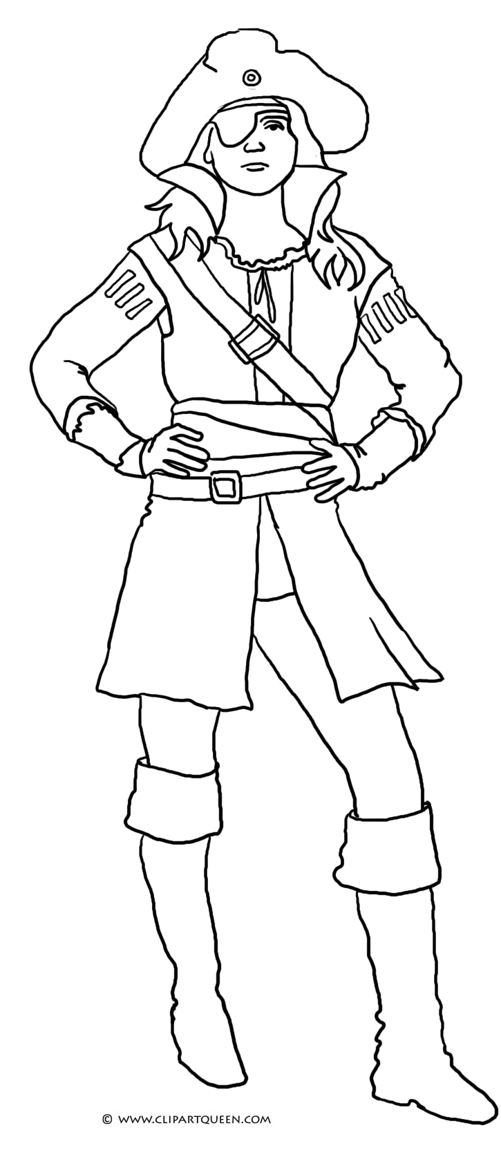 Pirate colouring pages to print - Pirate Girl
