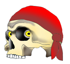 pirate scull with red scarf