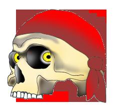 pirate skull with red bandana