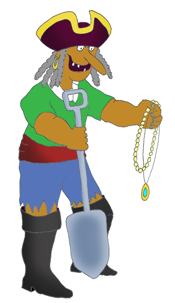 Pirate clip art with jewelry