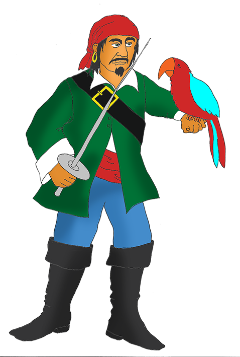 angry pirate with red parrot