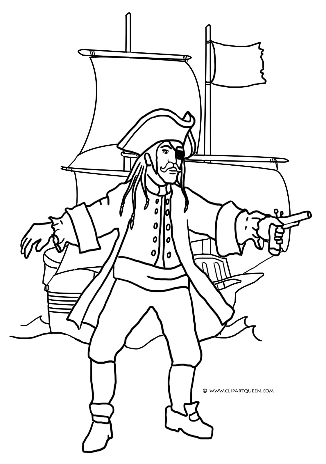 pirate coloring page ship revolver
