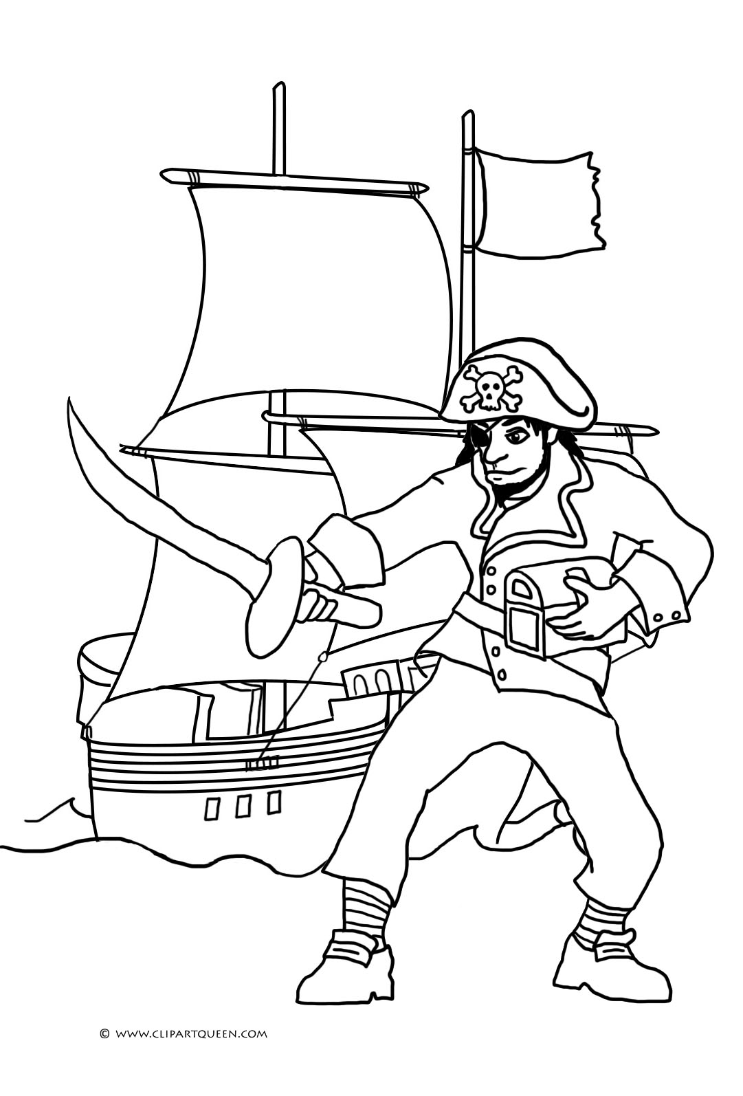 pirate with sword and pirate ship