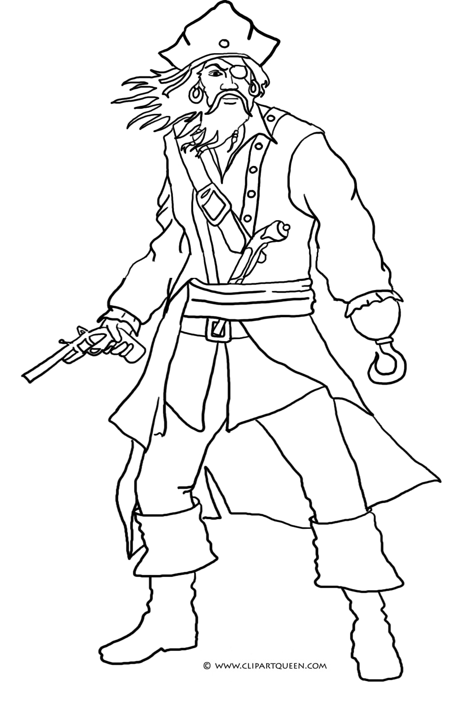 scary pirate - Pirate Coloring Pages