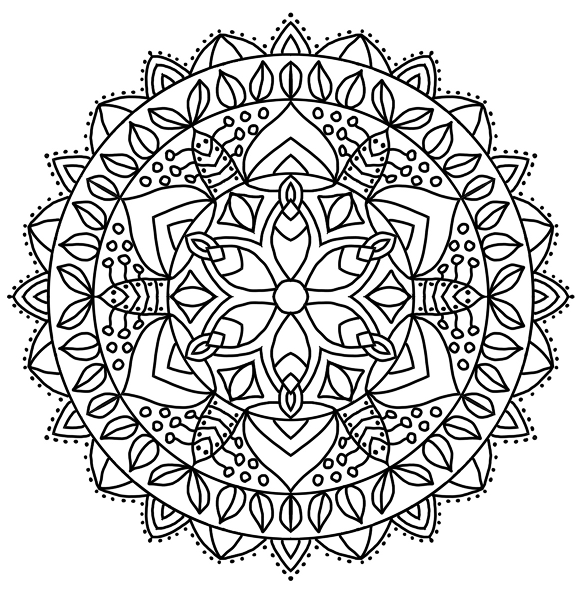 pointed mandala motive for coloring