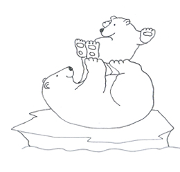 polar bear clip art playing with cub on ice floe