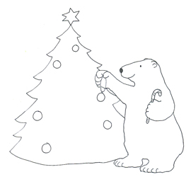 polar bear decorating Christmas tree sketch