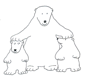 polar bear clip art with cubs sketch