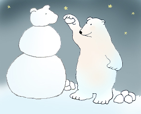 Polar bear making snowbear color