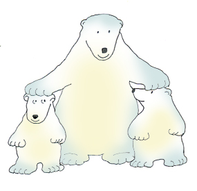 polar bear clip art with cubs color