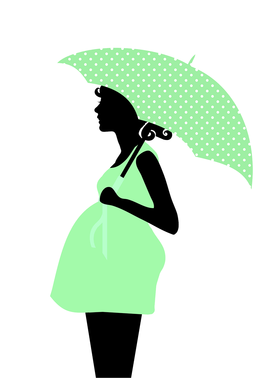 pregnant woman with umbrella silhouette