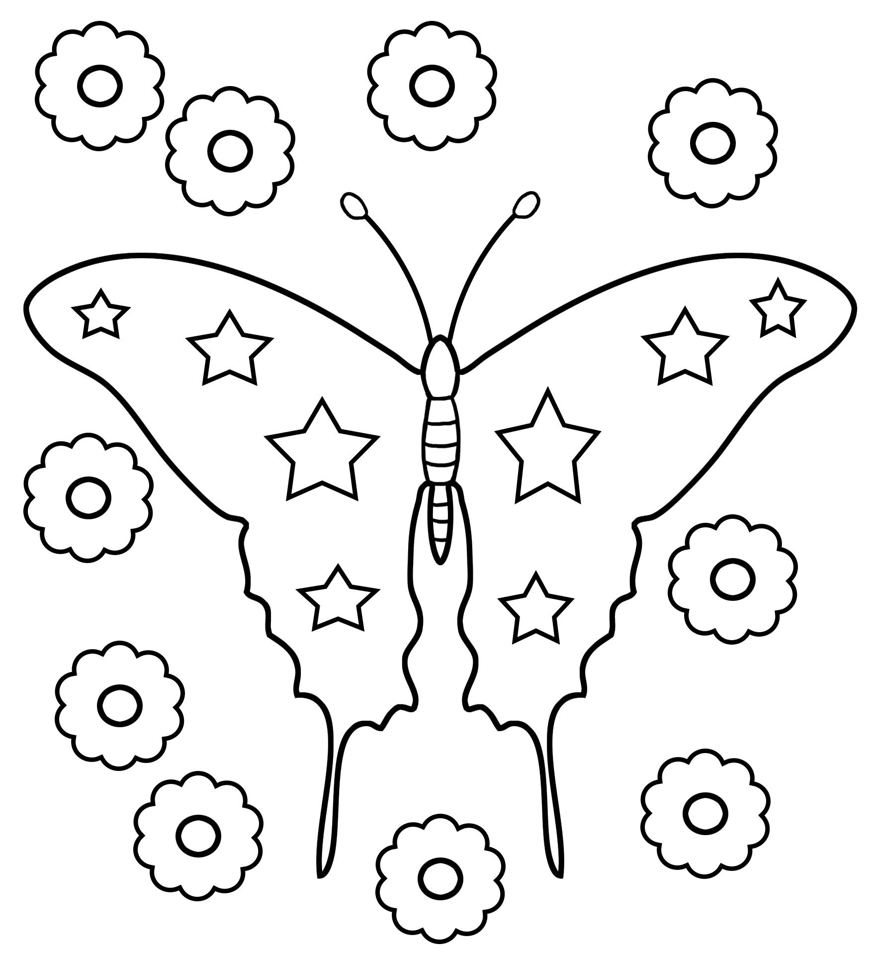 Preschool butterfly coloring stars flowers