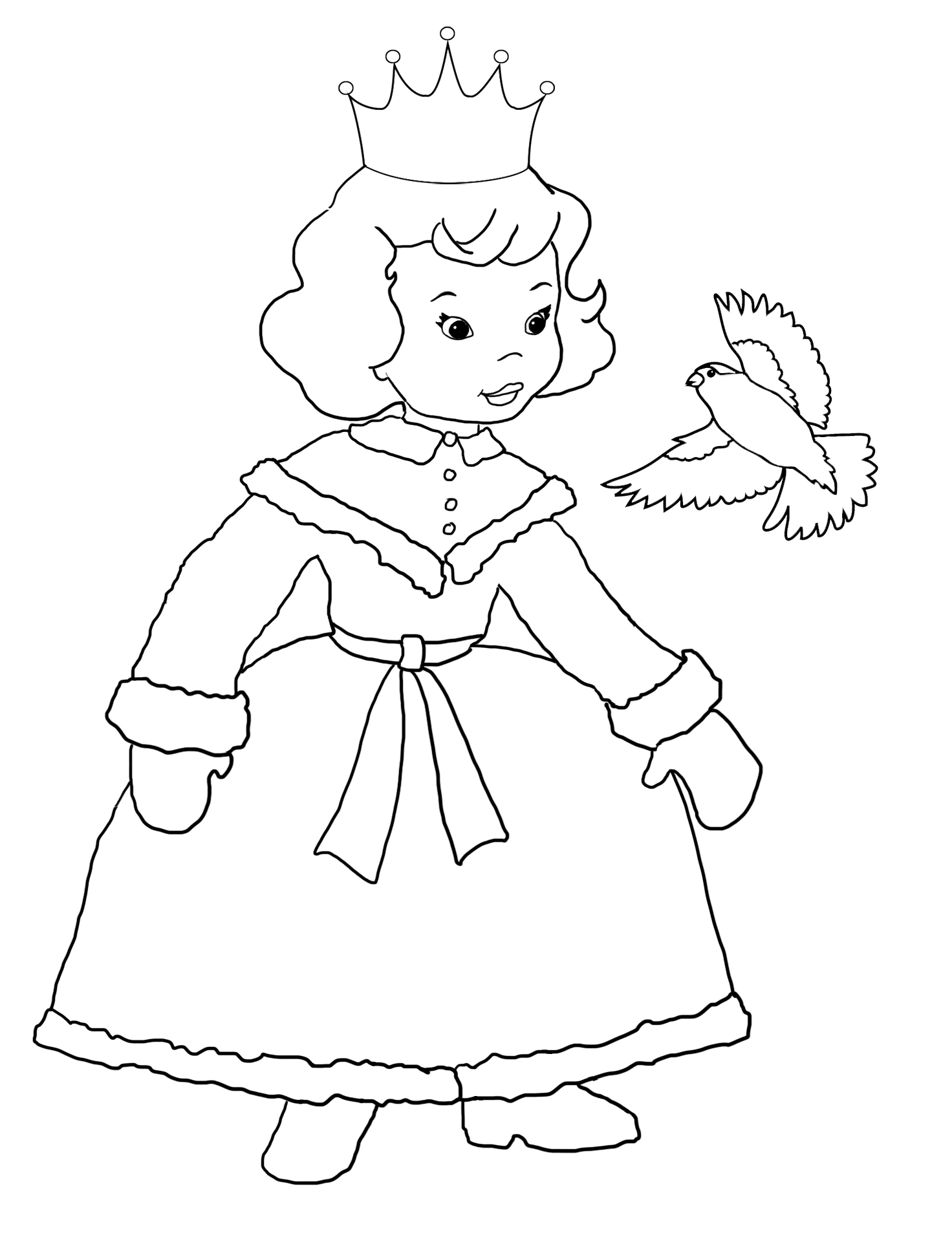 princess coloring pages with bird